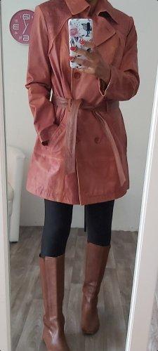 Heine Manteau en cuir marron clair-brun
