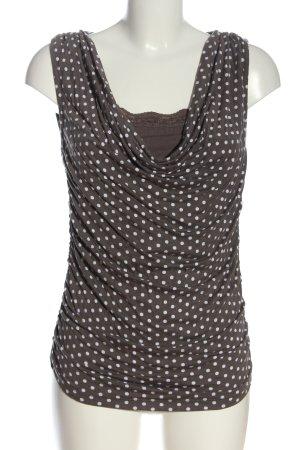 Heine Lange top bruin-wit gestippeld patroon casual uitstraling