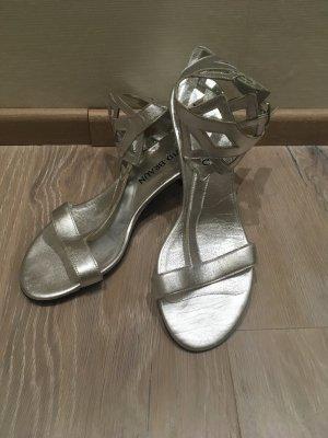 Patrizia Dini T-Strap Sandals silver-colored-grey leather