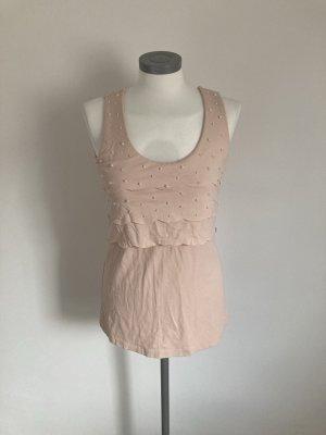 Heine Patrizia Dini Shirt Bluse Top rosa rose Perlen 36 S