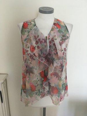 Heine Shirt Top Bluse grau taupe rosa rose grün rot bunt Rüschen Volant 36 S