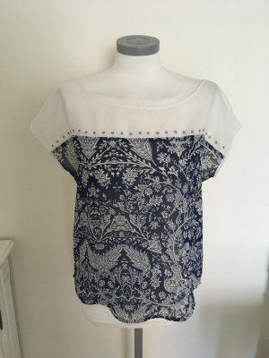 Heine Shirt Top Bluse weiß blau dunkelblau 36 S