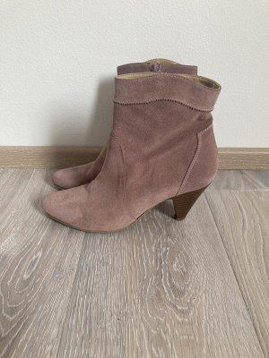 Heine Stiefelette Boots rosa rose Leder Gr. 40