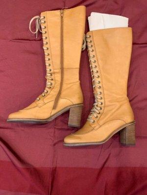Heine Stiefeln Camel Senf Farbe Lederstiefel Boots