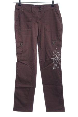 Heine Stoffhose bronzefarben Motivdruck Casual-Look