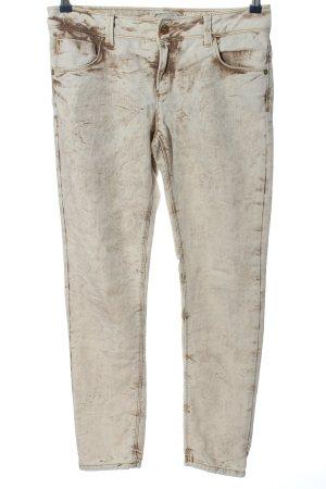 Heine Straight-Leg Jeans weiß-braun abstraktes Muster Casual-Look