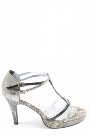 Heine T-Strap Sandals silver-colored-black elegant