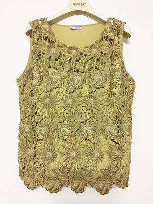 Heine Top de encaje color oro tejido mezclado