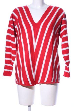 Heine Jersey con cuello de pico rojo-blanco estampado a rayas look casual