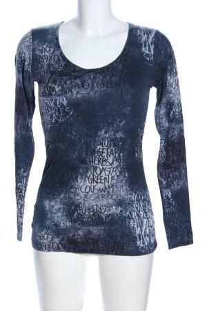Heine V-Ausschnitt-Pullover blau Allover-Druck Casual-Look