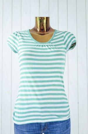 HELDMANN Damen T-Shirt Rundhals Kurzarm Grün Weiß Baumwolle Gr.S