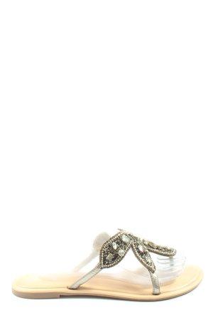 Helen Billkrantz Chanclas blanco puro-color oro look casual