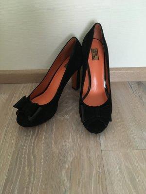 Helen Billkrantz Pumps Peep Toes schwarz Schleife Leder Gr. 38