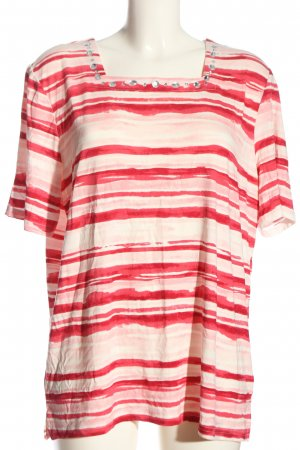 Helena Vera Short Sleeved Blouse cream-red striped pattern casual look