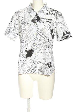 Helena Vera Shirt met korte mouwen wit-zwart volledige print casual uitstraling