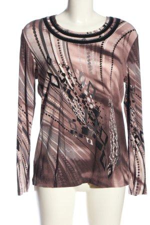 Helena Vera Langarm-Bluse braun-creme abstraktes Muster extravaganter Stil