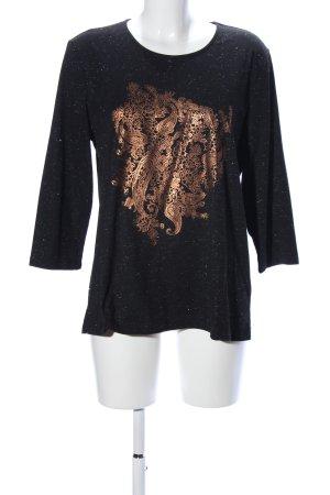 Helena Vera Slip-over blouse zwart-goud abstract patroon casual uitstraling