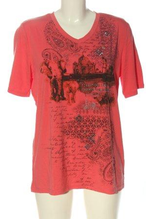 Helena Vera T-Shirt pink-schwarz Motivdruck Casual-Look