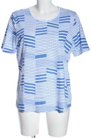 Helena Vera T-shirt blanc-bleu imprimé allover style décontracté