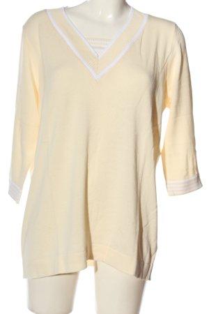 Helena Vera V-Ausschnitt-Pullover blassgelb-weiß Streifenmuster Casual-Look