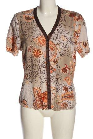 Helena Vera T-shirt col en V motif abstrait style décontracté
