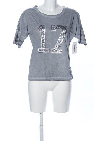 Tchibo / TCM T-Shirt hellgrau-silberfarben meliert Glitzer-Optik