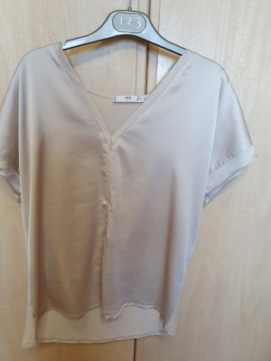 Mango Suit Blouse brillante beige clair nylon
