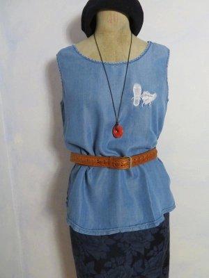 Vintage Blusa denim azzurro-bianco Lyocell