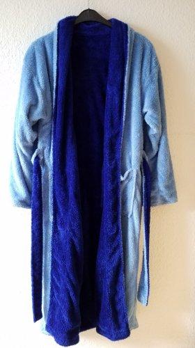 hellblau dunkelblauer Teddy Bademantel aus Microfaser zum Wenden Unigröße