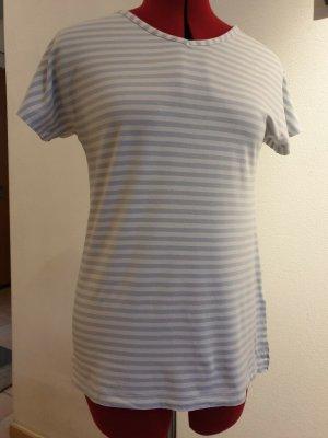 Vanilia Koszulka w paski biały-jasnoniebieski Wiskoza