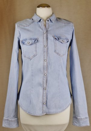 Hellblau Jeans Hemd Bluse Divided H&M Größe 36 Baumwolle Denim Longbluse Eng Druckknopf Perlmutt