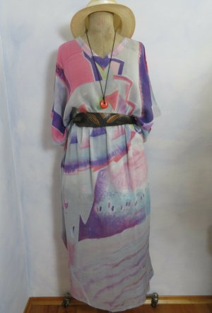 Hellblau Kaftan Kleid Scandi Graphic Design Ethno Aquarell XL XXL Curvy Maxikleid 100% Baumwolle - Vintage
