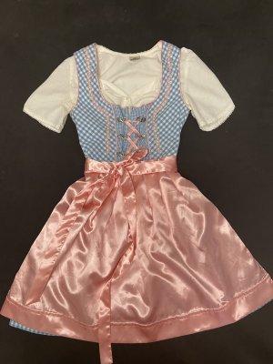 Vestido Dirndl azul claro-rosa claro