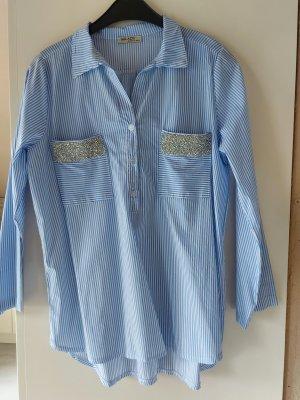 Miladys Cols de blouses blanc-bleu azur