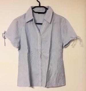 hellblaue Bluse mit Kragen und Knöpfen, kurzärmlig, Gr. 40