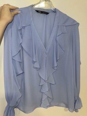 Hellblaue Bluse mit Rüschen Gr. S