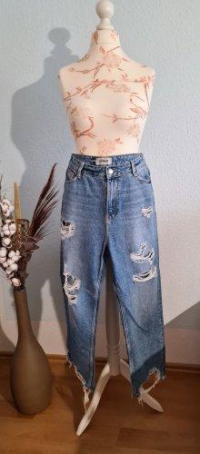 hellblaue, Boyfriend-Jeans im used look von New Look