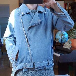 Forever 21 Denim Jacket azure-steel blue cotton