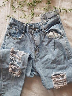 Vintage Jeans a vita alta bianco-azzurro
