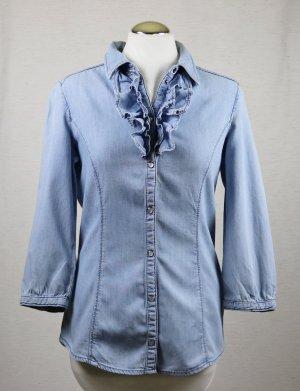 Hellblaue Jeans Bluse Rüschen de.corp Esprit Größe 36 S Sabot Sommerbluse Kragen Hemd Plastron Jeanshemd