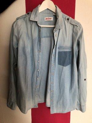 John Baner Blusa-camisa azul celeste-azul acero