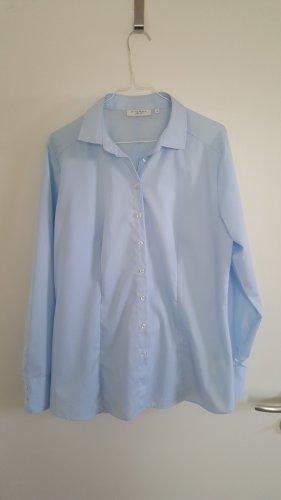 Hellblaue, klassische Bluse von Eterna, Slim fit, bügelfrei, tailliert, Größe: 44
