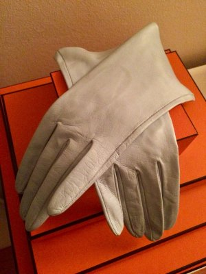 Leather Gloves azure-light blue