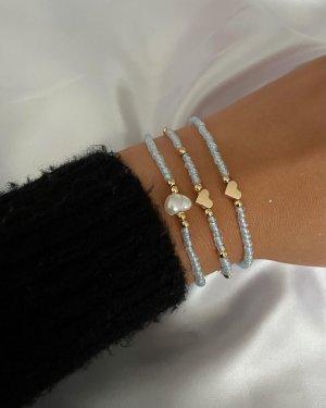 Bracelet en perles doré-bleu azur