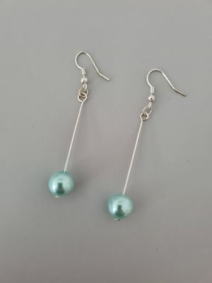Vintage Pearl Earring silver-colored-light blue