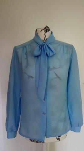 Blusa collo a cravatta azzurro