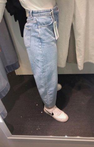 Gina Tricot Spodnie typu boyfriend błękitny-srebrny Bawełna
