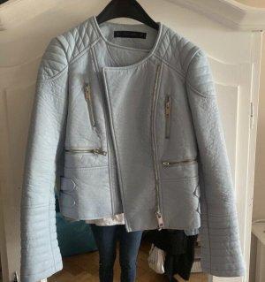 Hellblaue Zara Bikerjacke aus Kunstleder