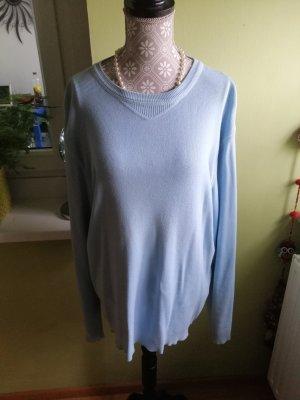 Hellblauer, feiner Pullover 100% Baumwolle  Marke BENETTON