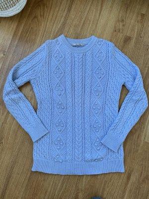 Zara Maglione intrecciato azzurro Cotone
